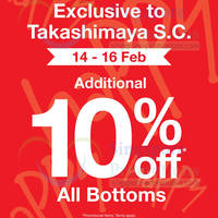 Read more about Bossini Additional 10% OFF All Bottoms Promo @ Takashimaya 14 - 16 Feb 2014