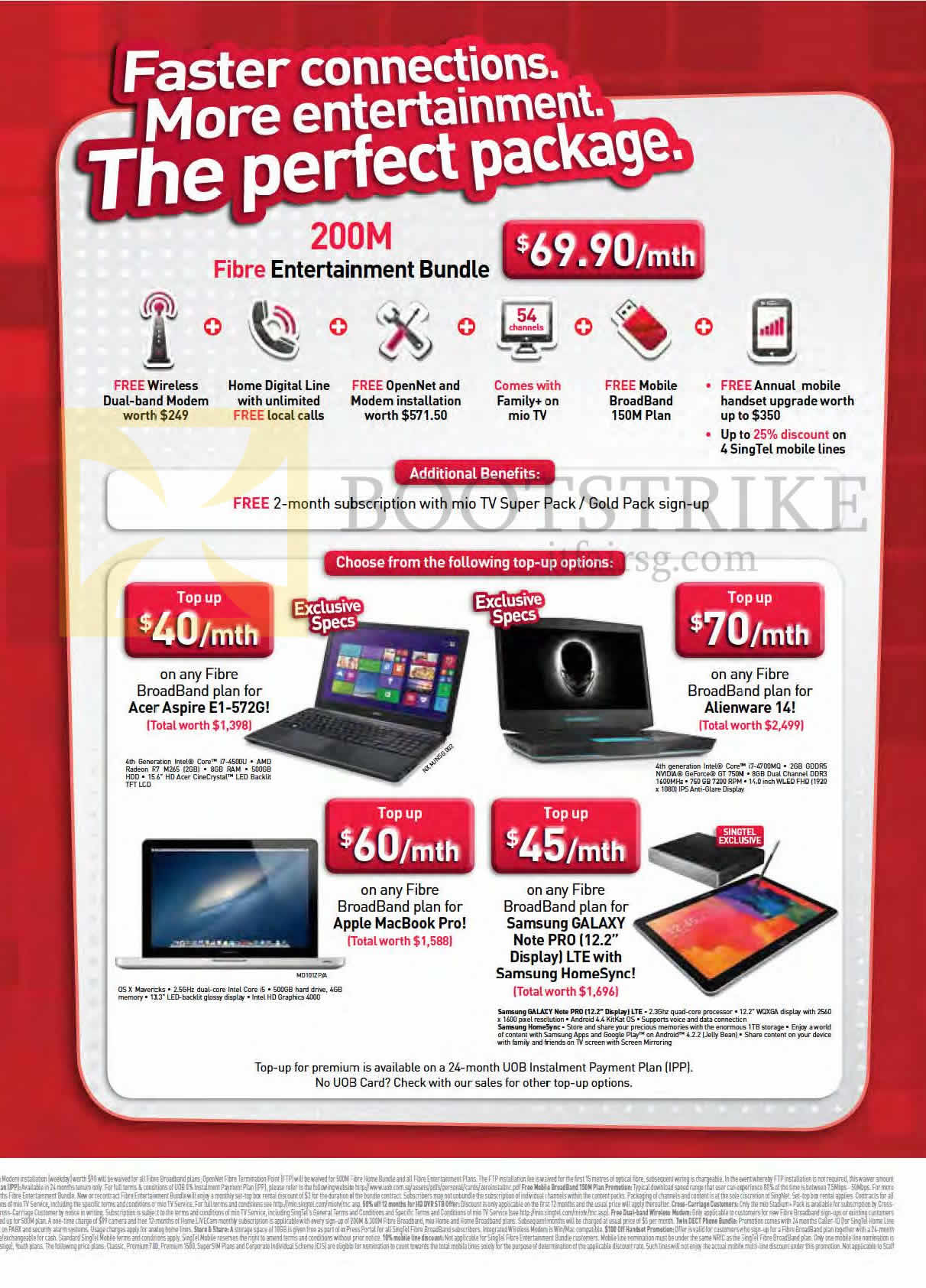 Broadband 200Mbps Fibre Entertainment Bundle, Notebooks Acer Aspire E1-572G, Dell Alienware 14, Apple Macbook Pro, Samsung Galaxy Note Pro