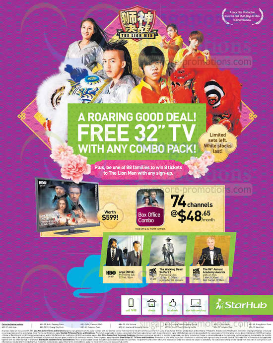 Cable TV, Free 32 Inch TV, Box Office Combo