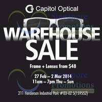 Read more about Capitol Optical Warehouse SALE 27 Feb - 2 Mar 2014