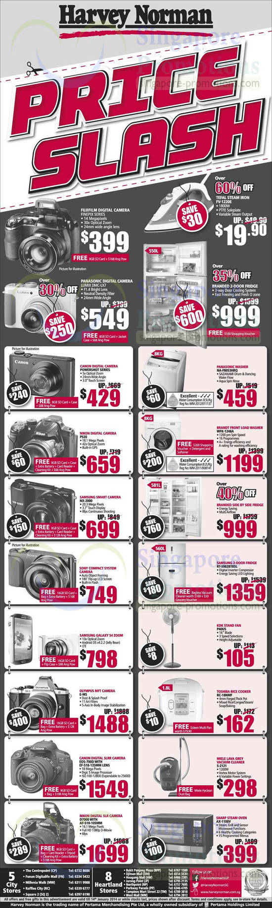 Panasonic DMC-LX7 Digital Camera, Panasonic NA-F80S3HRQ Washer, Nikon P520 Digital Camera, Brandt WFK-1248A Washer, Samsung NX-2000 Digital Camera, Samsung RT-5982BTBSL Fridge, Samsung Galaxy S4 Zoom, KDK P40US Fan, Olympus E-M5 Digital Camera, Toshiba RC-18NMF Rice Cooker, Canon EOS 700D DSLR Digital Camera, Miele S-2121 Vacuum Cleaner, Nikon D7000 DSLR Digital Camera and Sharp AX-1100V Oven