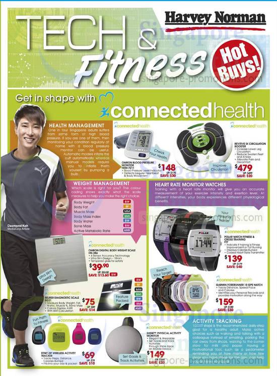 Fitbit Zip Activity Tracker, Omron Blood Pressure Monitor HEM-7211, Polar Watch Ft7, Garmin Forerunner 10 Watch, Omron Scale HN-286, BEURER Scale Bg21