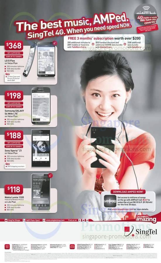 LG G Flex, Samsung Galaxy S4, Sony Xperia Z1, Nokia Lumia 1320