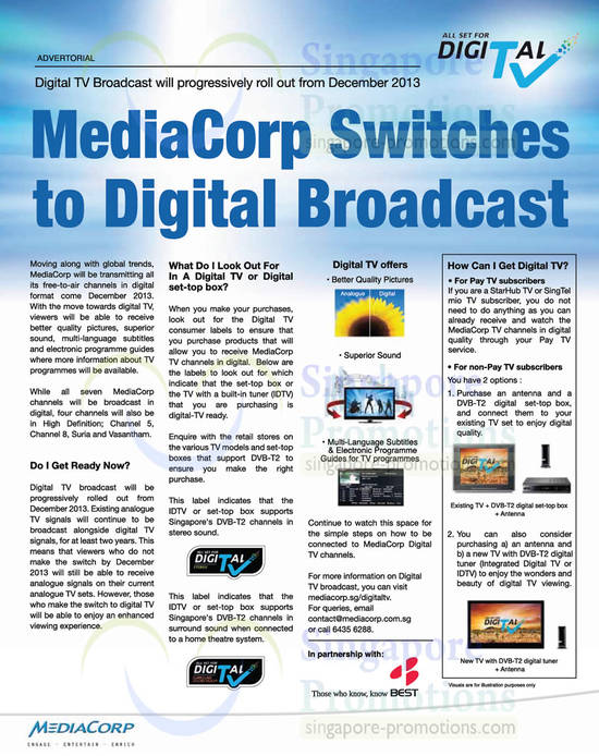 Mediacorp Digital Broadcast Tuning In, Labels, TV Compatibilty