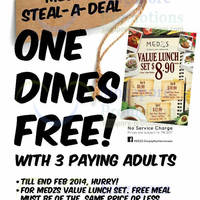 Read more about Medzs Buy 3 Get 1 FREE Value Lunch Set Coupon Promo 20 - 28 Feb 2014