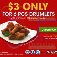 Read more about Pizza Hut Delivery $3 6pcs Drumlets Coupon Code 7 Feb 2014