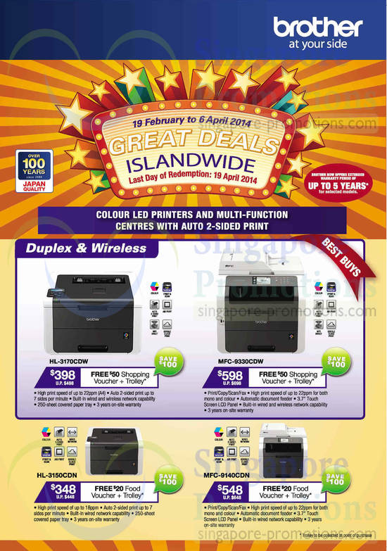 Brother HL-3170CDW Printer, Brother MFC-9330CDW Printer, Brother HL-3150CDN Printer, Brother MFC-9140CDN Printer