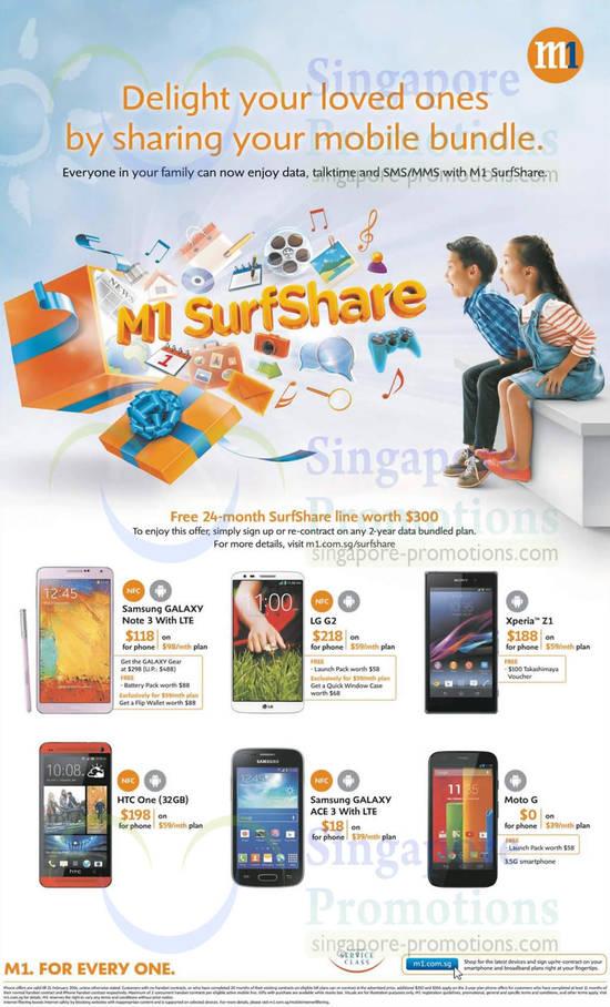 SurfShare, Samsung Galaxy Note 3, Samsung Galaxy Ace 3, LG G2, Sony Xperia Z1, HTC One 32GB, Moto G