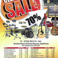 Read more about Yamaha Up To 70% OFF Clearance SALE @ Clementi 21 - 23 Feb 2014