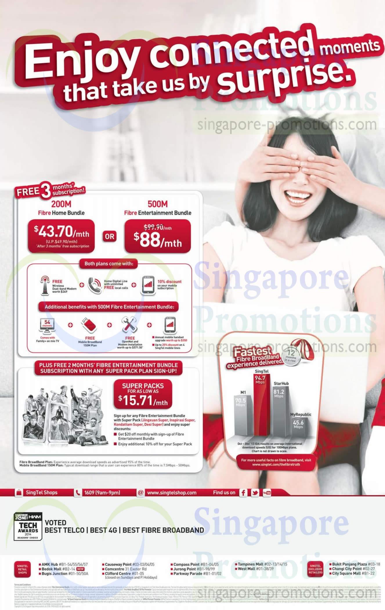 200Mbps 49.90 Fibre Home Bundle, 500M 88.00 Fibre Entertainment Bundle, Super Packs 15.71