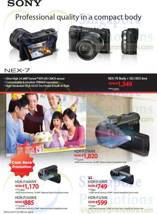 Sony NEX-7 Digital Camera, Sony HDR-PJ660VE Camcorder, Sony HDR-PJ790VE Camcorder, Sony HDR-PJ380E Camcorder, Sony HDR-PJ230E Camcorder, Sony HDR-PJ430VE Camcorder