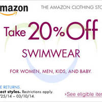 Read more about Amazon.com 20% OFF Swimwear For All Ages Coupon Code 5 - 11 Mar 2014