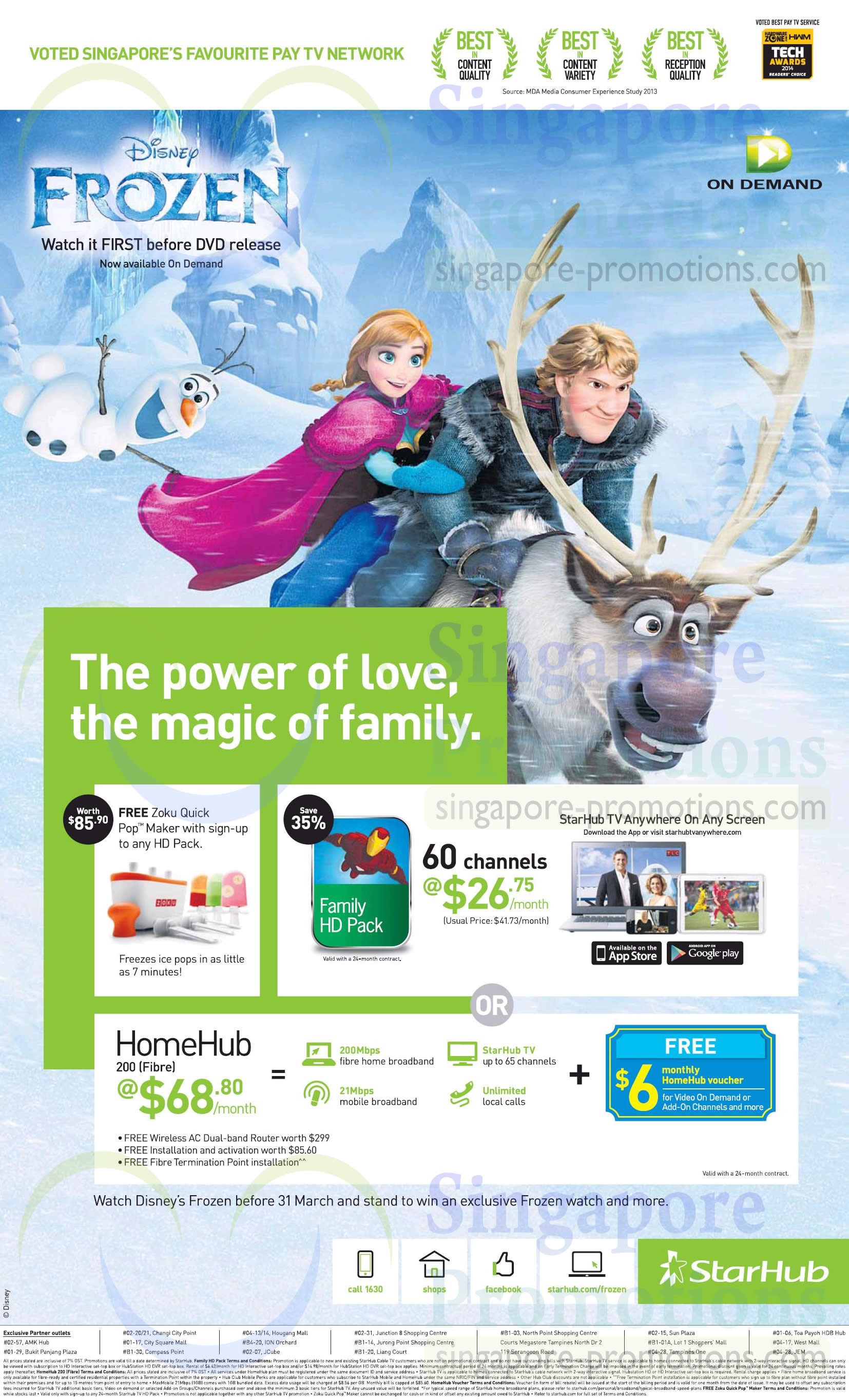 Cable TV Family HD Pack, HomeHub 200Mbps 68.80 Fibre Broadband