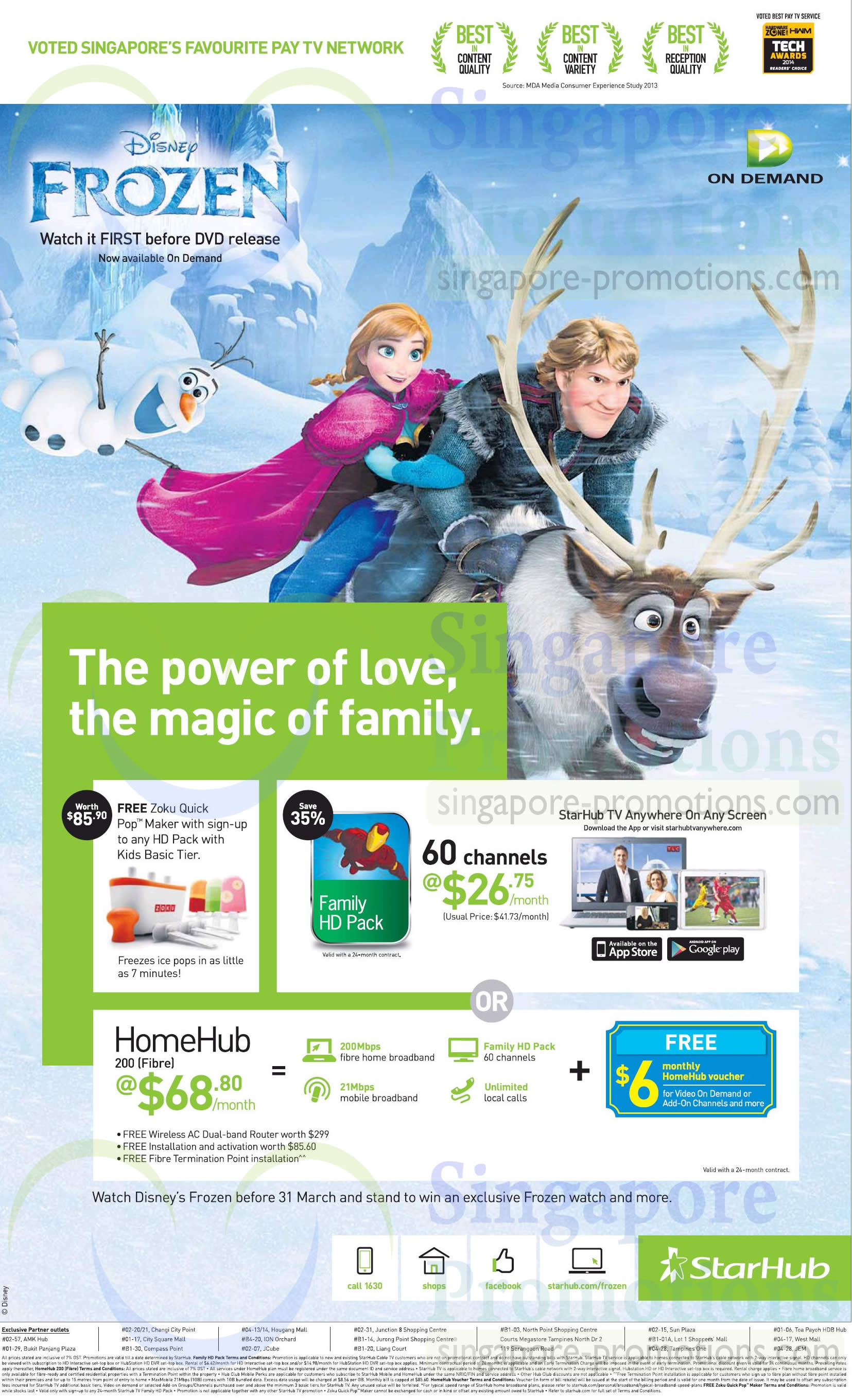 Cable TV Family HD Pack, HomeHub 68.80 200Mbps Fibre Broadband