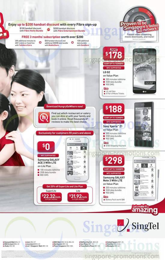 Fibre Broadband 200 Dollar Off Handsets, Free 3 Months, Samsung Galaxy Ace 3, Samsung Galaxy Note 3, Sony Xperia Z1, LG G2
