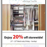 Read more about Howards Storage World 20% OFF Storewide @ All Outlets 21 - 23 Mar 2014