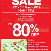 Read more about Jay Gee Warehouse SALE @ Jay Gee Melwani House 27 - 31 Mar 2014