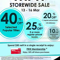 Read more about MPH Bookstores Up To 40% OFF Storewide Promotion 13 - 16 Mar 2014