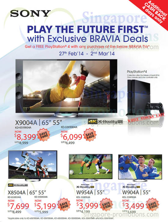 Sony PlayStation 4, Sony KD-65X9004A TV, Sony KD-55X9004A TV, Sony KD-65X8504A TV, Sony KD-55X8504A TV, Sony KDL-55W954A TV, Sony KDL-55W904A TV