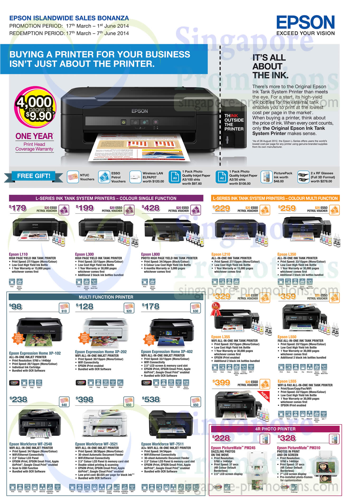 Epson L110 Printer, Epson L300 Printer, Epson L800 Printer, Epson L210 Printer, Epson L350 Printer, Epson L355 Printer, Epson L550 Printer, Epson L555 Printer, Epson XP-102 Printer, Epson XP-202 Printer, Epson XP-402 Printer, Epson WF-7511 Printer, Epson WF-3521 Printer, Epson WF-2548 Printer, Epson PM245 Printer, Epson PM310 Printer