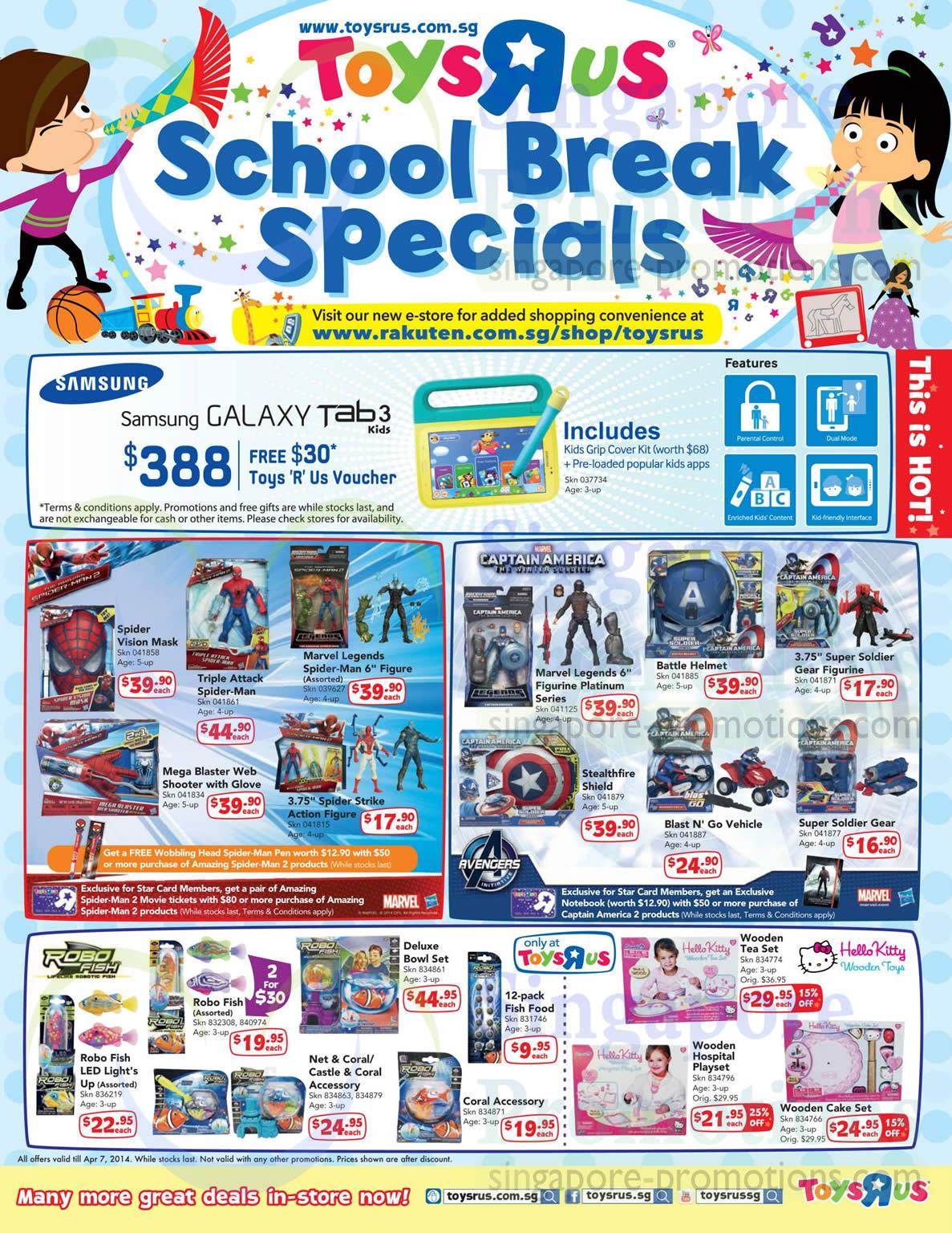 School Break Specials, Spider Man, Captain America, Robo Fish, Hello Kitty