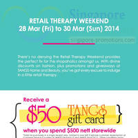 Read more about Tangs FREE $50 Gift Card With $500 Spend 28 - 30 Mar 2014