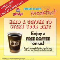 Read more about Wendy's FREE Coffee With Any Purchase Weekdays 7am to 9am Promo @ Suntec 24 Mar 2014