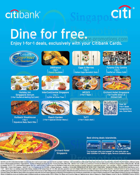 30 Apr More 1 For 1 Dining Deals, Delifrance, Holiday Inn, InterContinental, Medzs, Orchard Hotel, ToTT