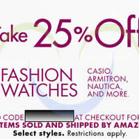 Read more about Amazon.com 25% OFF Fashion Watches Coupon Code (NO Min Spend) 10 - 17 Apr 2014