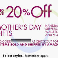 Read more about Amazon.com 20% OFF Handbags, Slippers, Wallets & More Coupon Code 29 Apr - 12 May 2014