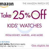 Read more about Amazon.com 25% OFF Kids Watches Coupon Code (NO Min Spend) 3 - 17 Apr 2014