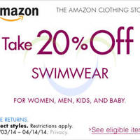 Read more about Amazon.com 20% OFF Swimwear For All Ages Coupon Code (NO Min Spend) 3 - 14 Apr 2014