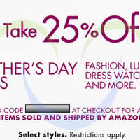 Read more about Amazon.com 25% OFF Fashion & Luxury Watches Coupon Code (NO Min Spend) 28 Apr - 12 May 2014
