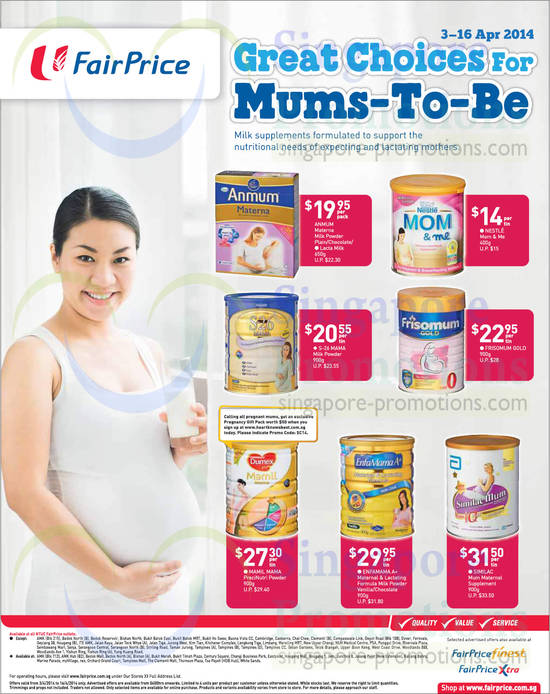 Anmum Materna Milk Powder Plain, Anmum Materna Milk Powder Chocolate, Anmum Materna Lacta Milk, Nestle Mom & Me, Friso Mum Gold, S-26 Mama Milk Powder, Enfamama A+ Maternal & Lactating Formula Milk Powder Vanilla, Enfamama A+ Maternal & Lactating Formula Milk Powder Chocotate, Similac Mum Maternal Supplement