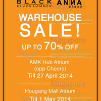 Read more about Black Hammer & Anna Black Warehouse SALE 25 Apr - 1 May 2014