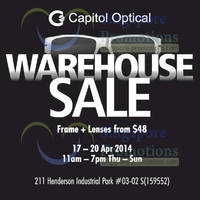 Read more about Capitol Optical Warehouse SALE 17 - 20 Apr 2014