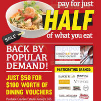 Read more about Creative Eateries 50% Off $100 Dining Vouchers 1 May - 30 Jun 2014