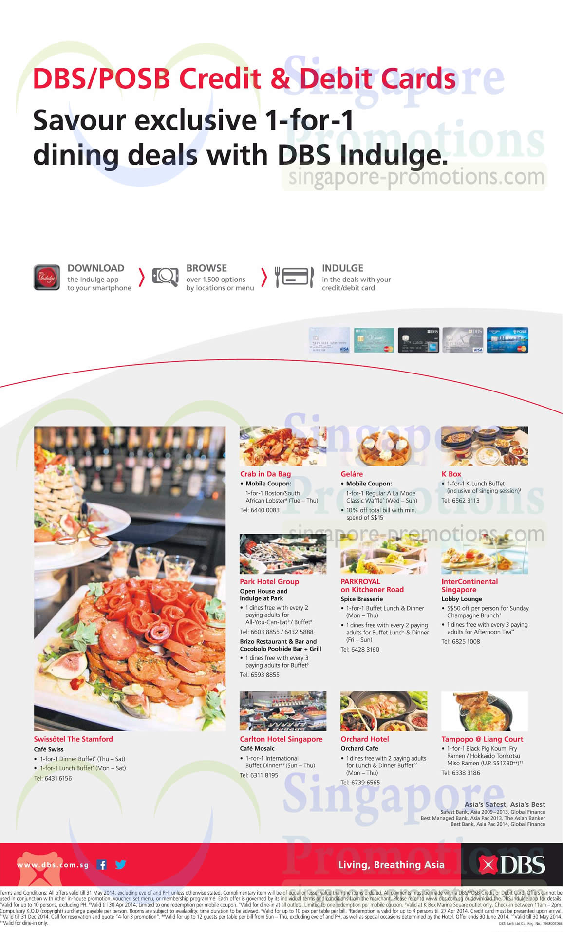 DBS 1 for 1 Dining Deals 3 Apr 2014