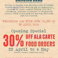 Read more about Dancing Crab 30% OFF Ala Carte Promotion Opening Promo 22 Apr - 4 May 2014