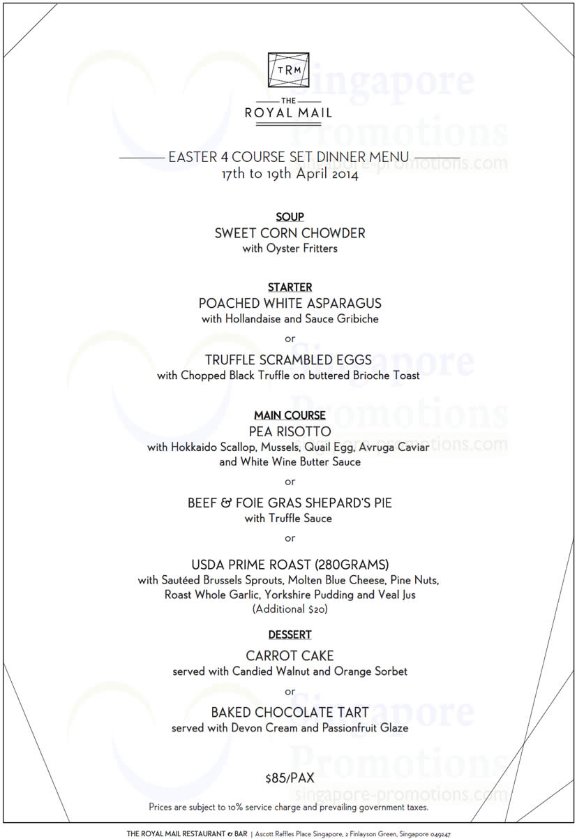 Easter 4 Course Set Dinner Menu