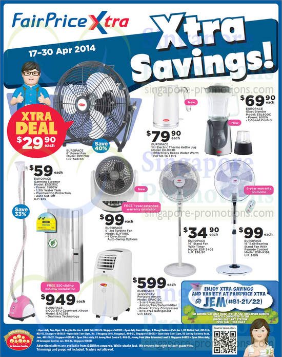 Europace Blenders, Kettles, Fans, Air Conditioners