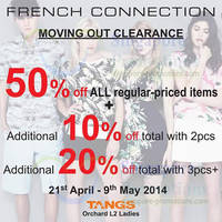 Read more about French Connection 50% OFF Storewide Moving Out SALE @ Tangs Orchard 21 Apr - 9 May 2014