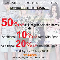 Read more about French Connection 50% OFF Storewide Moving Out SALE @ Tangs VivoCity 21 Apr - 4 May 2014