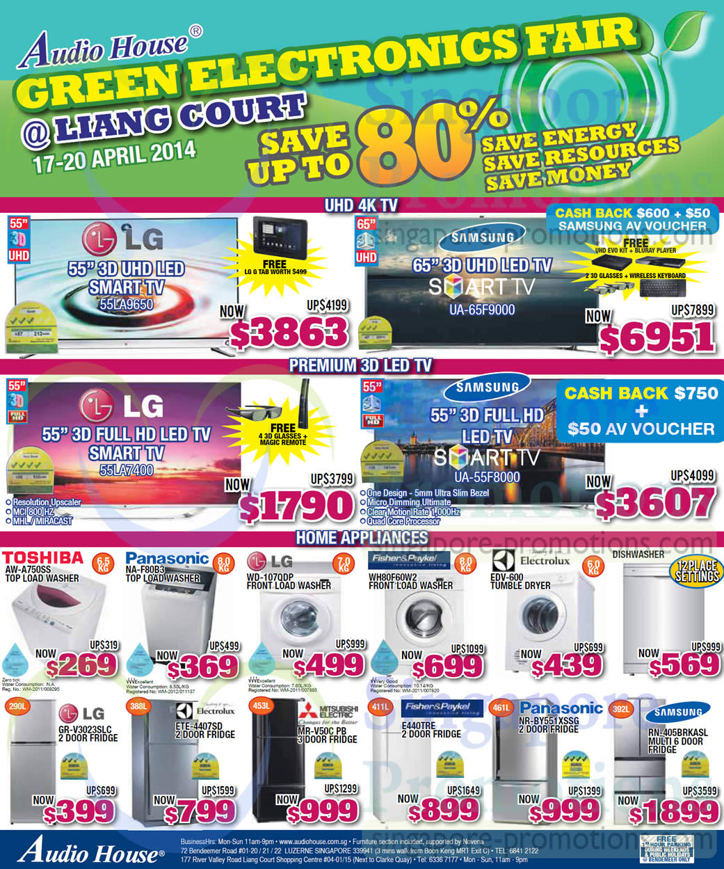 LG 55LA9650 TV, Samsung UA65F9000 TV, LG 55LA7400 TV, Samsung UA55F8000 TV, Toshiba AW-A750SS Washer, Panasonic NAF80B3 Washer, LG WD-107QDP Washer, Fisher&Paykel WH80F60W2 Washer, Electrolux EDV-600 Dryer, LG GR-V3023SLC Fridge, Electrolux ETE-4407SD Fridge, Mitsubishi Electric MR-V50C PB Fridge, Fisher&Paykel E440TRE Fridge, Panasonic NR-BY551XSSG Fridge and Samsung RN-405BRKASL Fridge