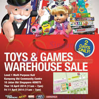 Read more about Hasbro Toys & Games Warehouse SALE @ Kampong Ubi CC 10 - 11 Apr 2014