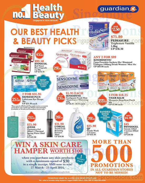 Health n Beauty Picks Pediasure, Hypocol, Sensodyne, Loreal, QV, Physiogel, Avene