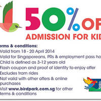 Read more about Jurong Bird Park 50% OFF Kids Admission Coupon 18 - 20 Apr 2014