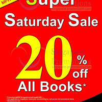 Read more about MPH Bookstores 20% OFF Storewide Saturdays Promo @ Robinson Road 5 - 26 Apr 2014