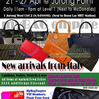 Read more about MyBagEmpire Branded Handbags & Accessories Sale @ Jurong Point 21 - 27 Apr 2014