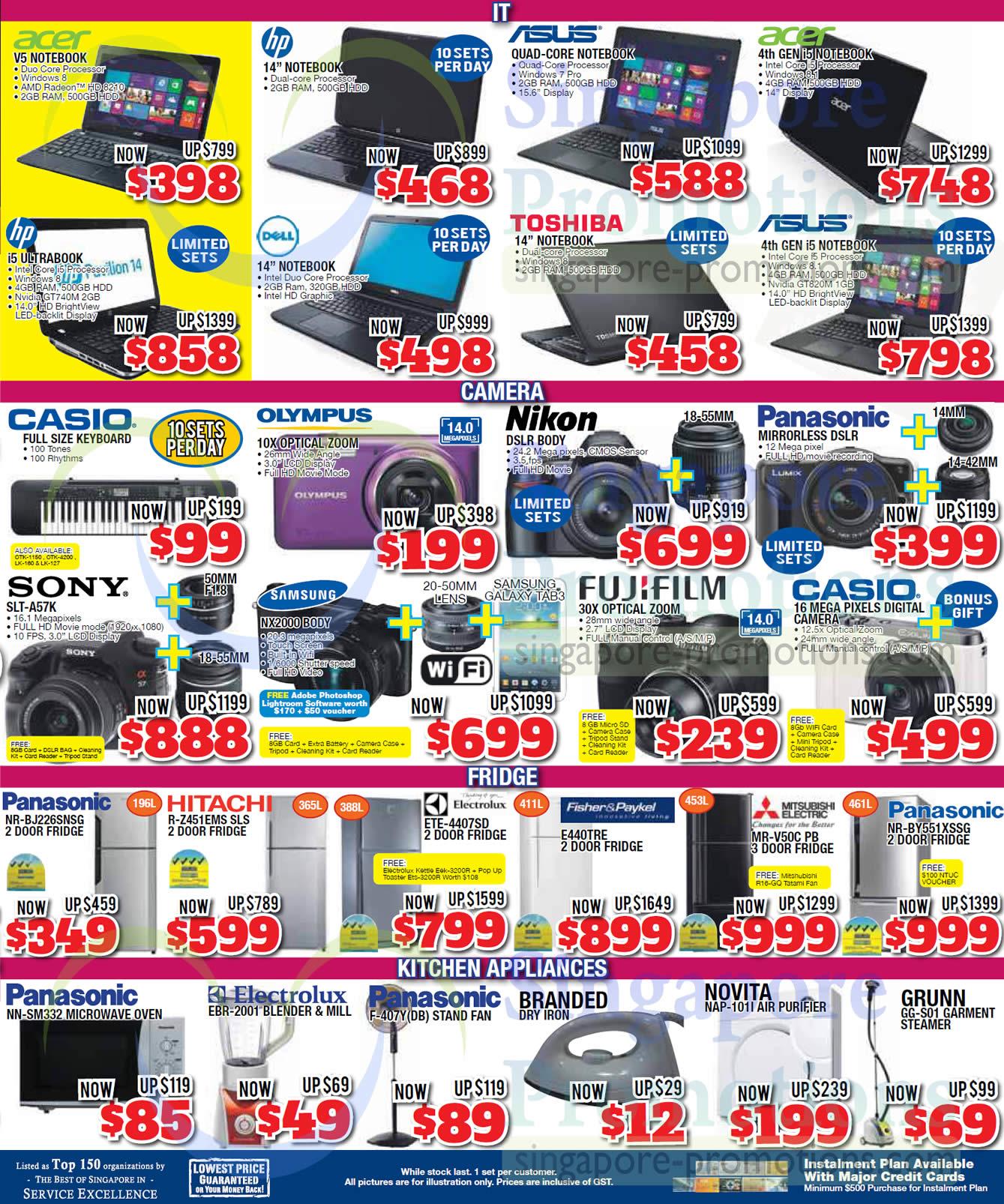 Sony SLT-A57K DSLR Digital Camera, Samsung NX2000 Digital Camera, Panasonic NR-BJ226SNSG Fridge, Hitachi R-Z451EMS Fridge, Electrolux ETE-4407SD Fridge, Fisher & Paykel E440TRE Fridge, Mitsubishi Electric MR-V50C Fridge, Panasonic NR-BY551XSSG Fridge, Panasonic NN-SM332 Oven, Panasonic F-407Y Fan, Novita NAP-101I Air Purifier and Grunn GG-S01 Garment Steamer